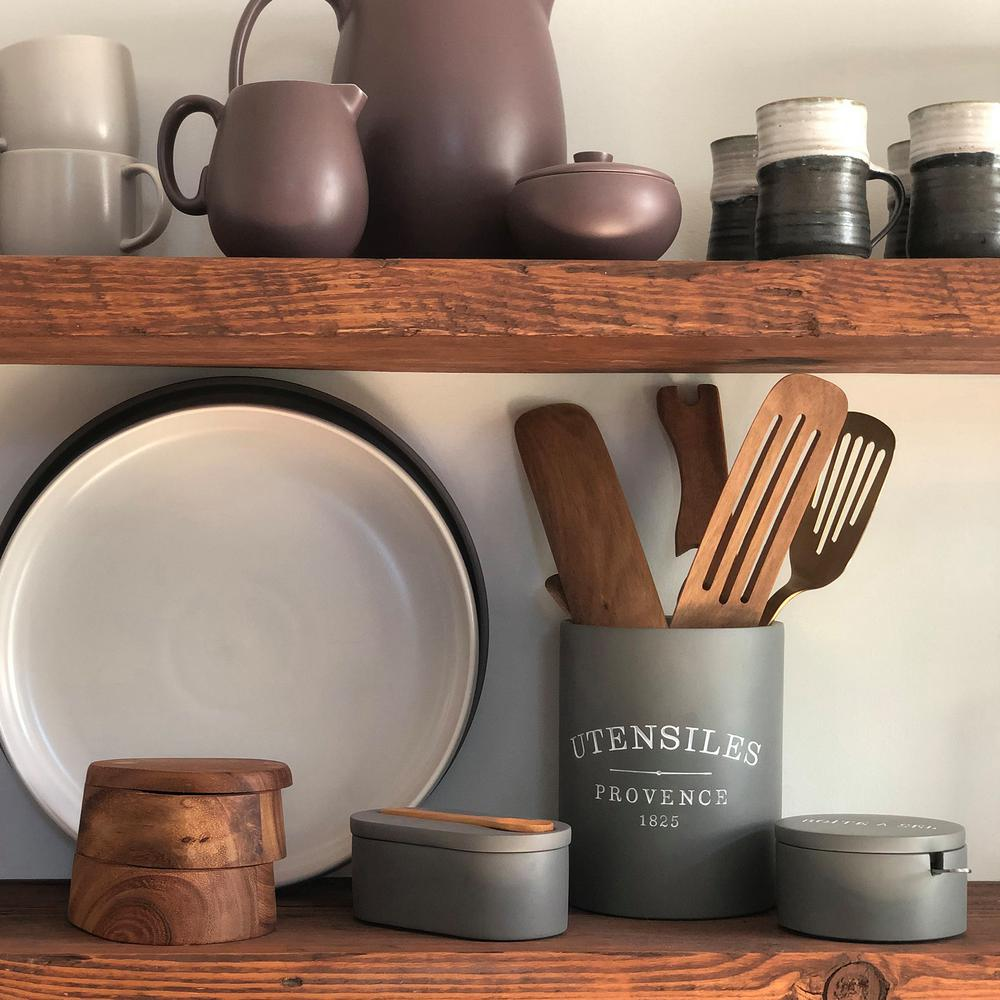 7 in. x 5 in. Slate Grey Round Cement Kitchen Utensil Holder
