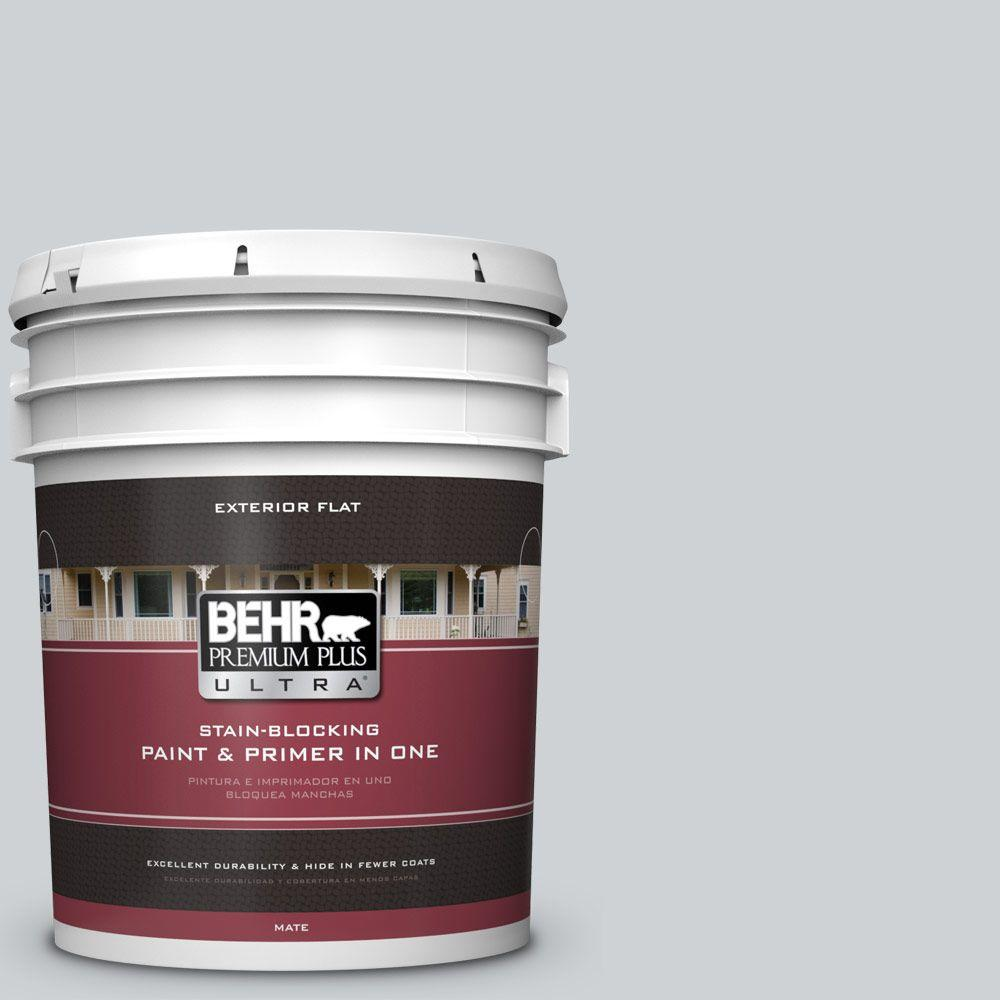 BEHR Premium Plus Ultra 5-gal. #N510-1 Silver Shadow Flat Exterior Paint