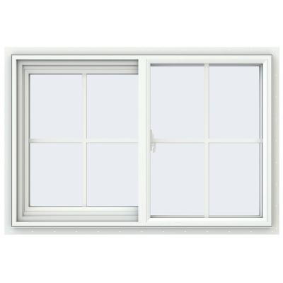 JELD-WEN 35.5 in. x 23.5 in. V-2500 Series White Vinyl Left-Handed Sliding Window with Colonial Grids/Grilles