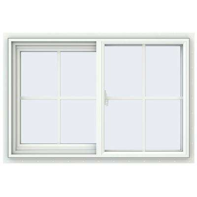 35.5 in. x 23.5 in. V-2500 Series White Vinyl Left-Handed Sliding Window with Colonial Grids/Grilles