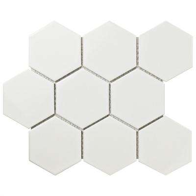 Metro Super Hex Glossy White 10 in. x 11-1/2 in. x 6 mm Porcelain Mosaic Tile (8.17 sq. ft. / case)