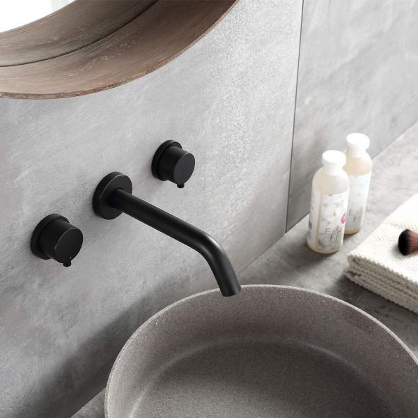 Boyel Living 2 Handle Wall Mount Bathroom Faucet Basin Mixer Taps With Rough In Valve In Black Rb04yb The Home Depot