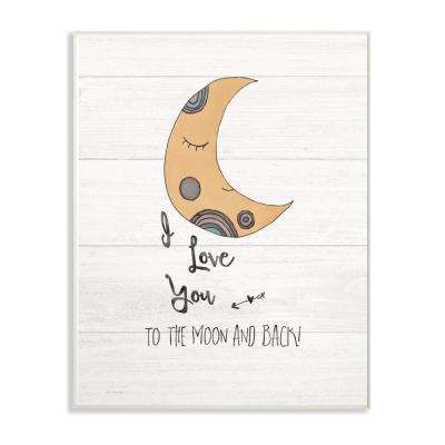 """10 in. x 15 in. """"I Love You Moon"""" by Jo Moulton Printed Wood Wall Art"""