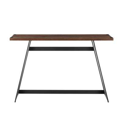 46 in. Dark Walnut Metal Wrap Entry Table