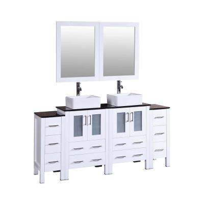 72 in. Double Vanity in White with Carrara Marble Vanity Top in Gray with White Basin Polished Chrome Faucet and Mirror