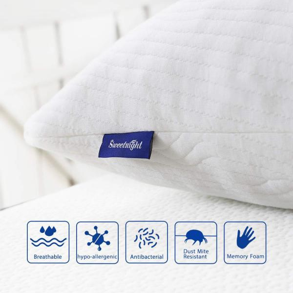 King Size Sweetnight Firm Hypoallergenic Bamboo Memory Foam Bed Sleeping Pillow