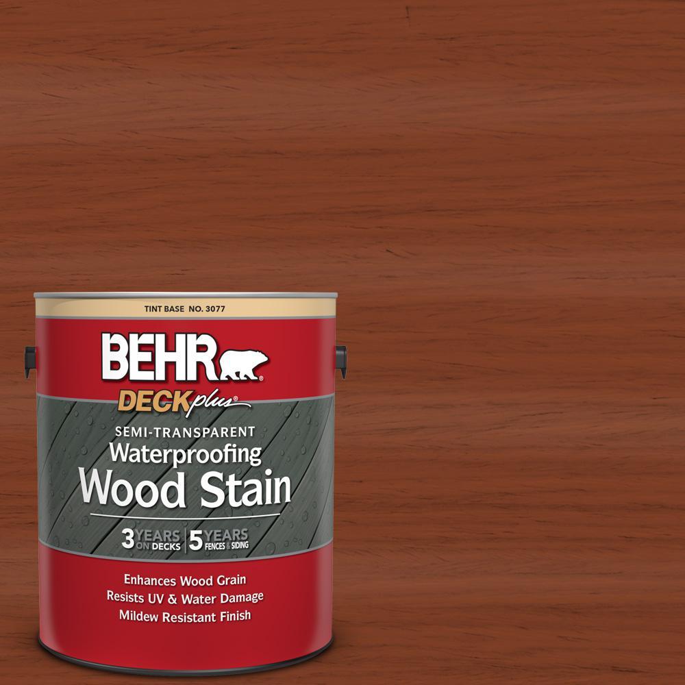 BEHR DECKplus 1 gal. #ST-142 Cappuccino Semi-Transparent Waterproofing Exterior Wood Stain