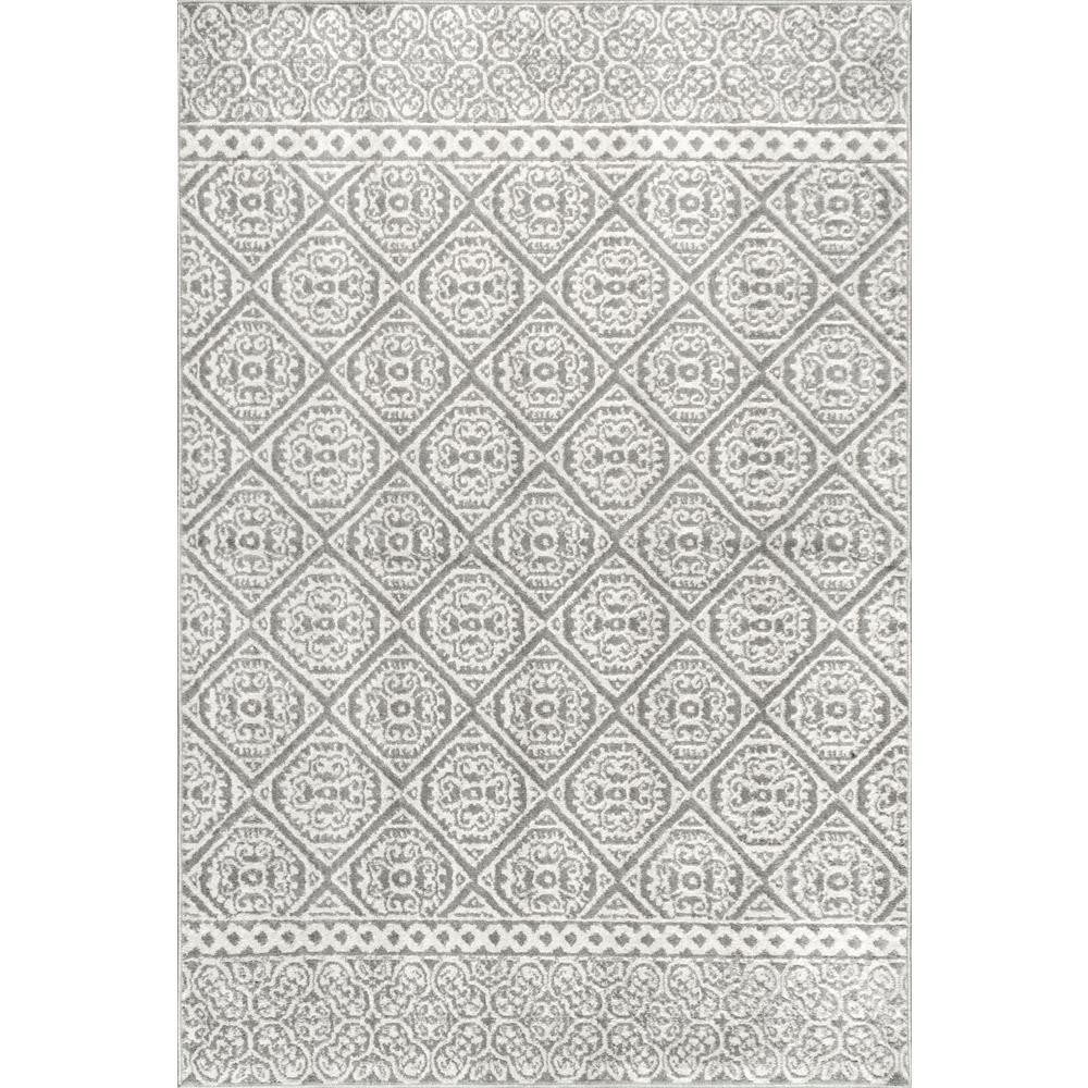 nuLOOM Transitional Floral Jeanette Gray 5 ft. x 8 ft. Area Rug