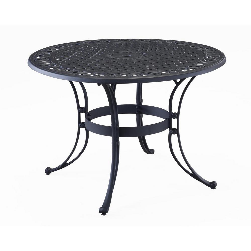 Sanibel 42 in. Black  Round Cast Aluminum Outdoor Dining Table