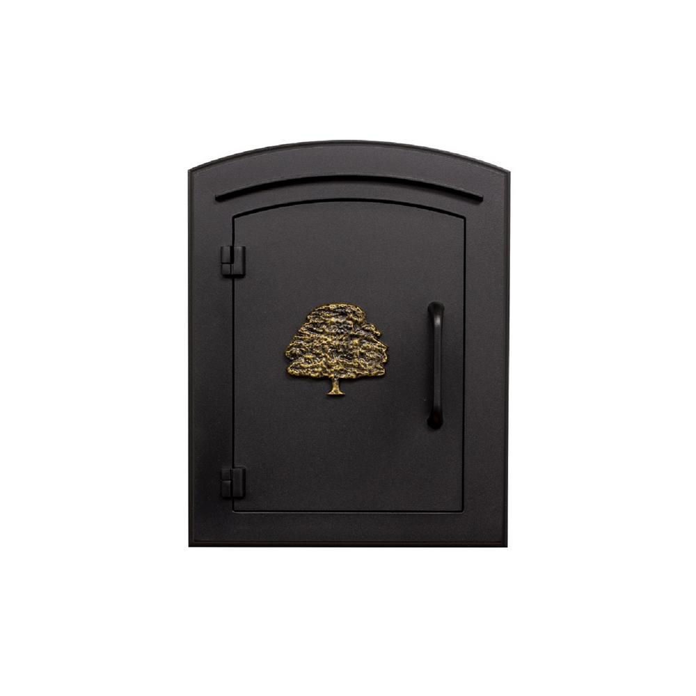 Manchester Black Column Mount Non-Locking Mailbox with Decorative Oak Tree Logo