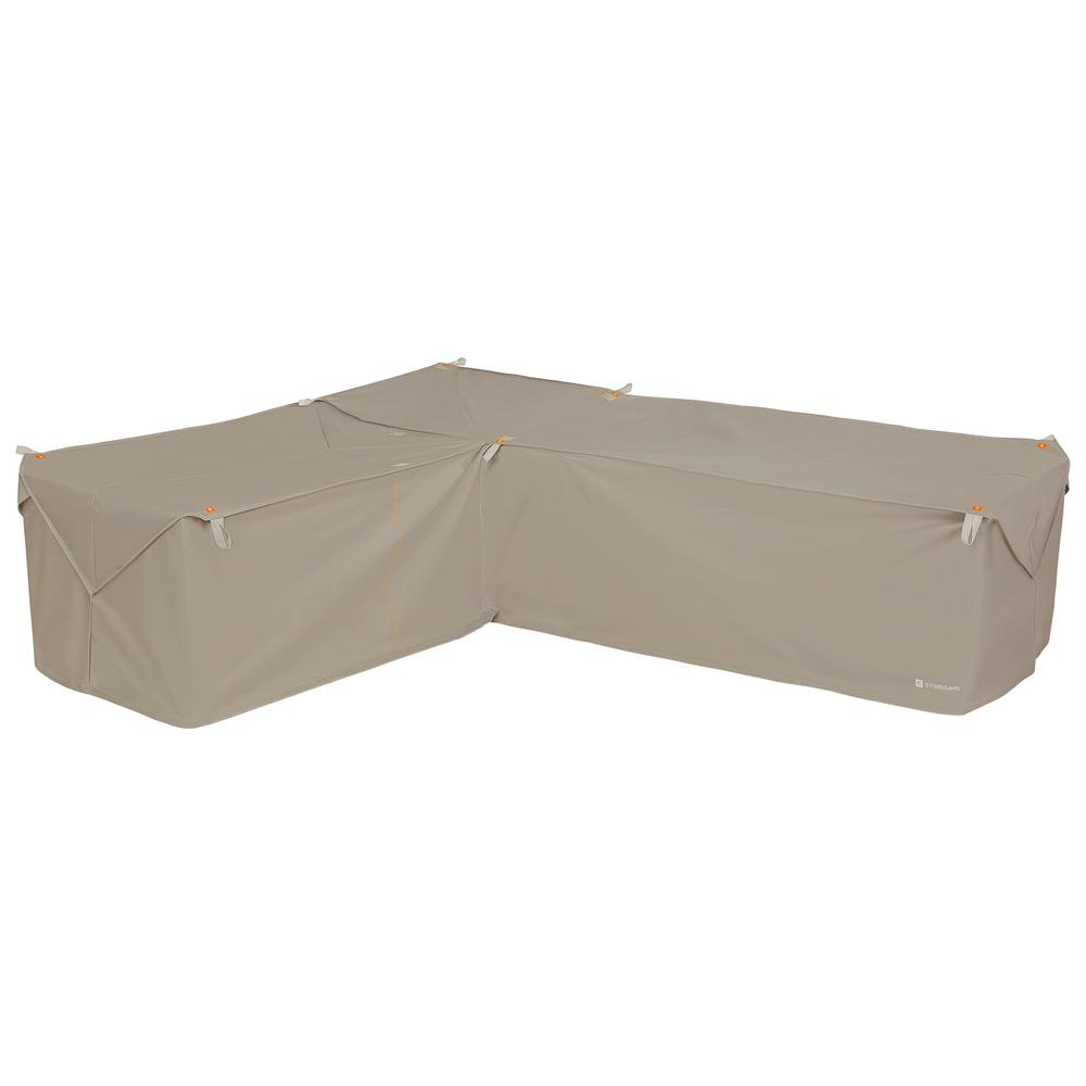 Classic Accessories Storigami 83 in. L x 104 in. W x 31 in. H Goat Tan Easy Fold Left-Facing Sectional Cover