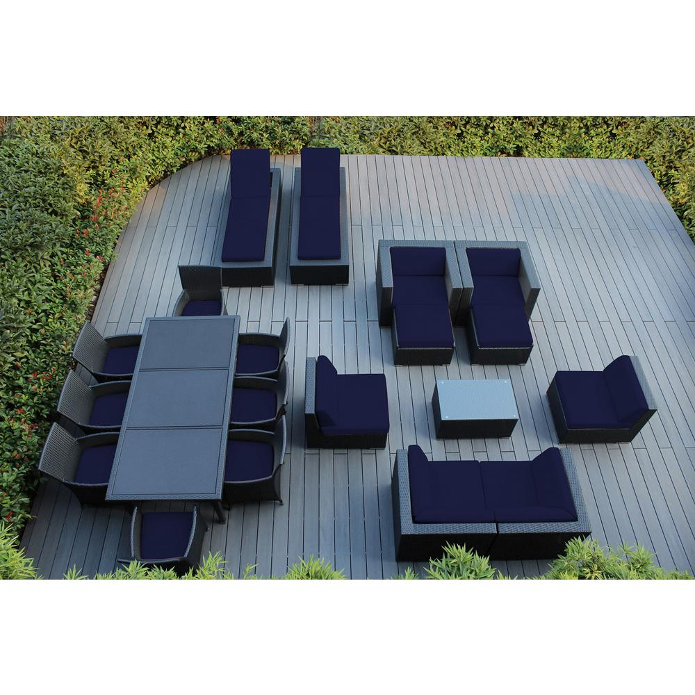Ohana Depot Black 20-Piece Wicker Patio Combo Conversation Set with Sunbrella Navy Cushions