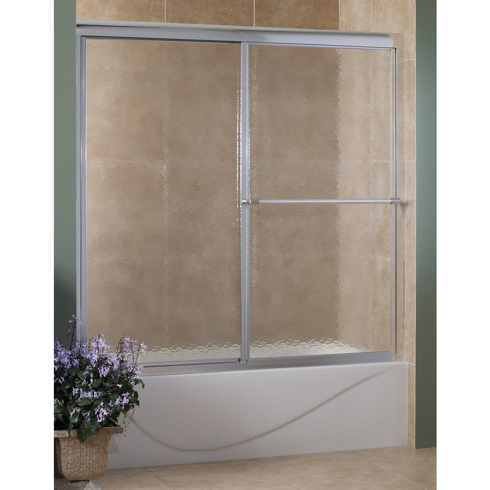 Foremost Tides 56 in. to 60 in. W x 58 in. H Framed Sliding Tub Door in Brushed Nickel with Obscure Glass
