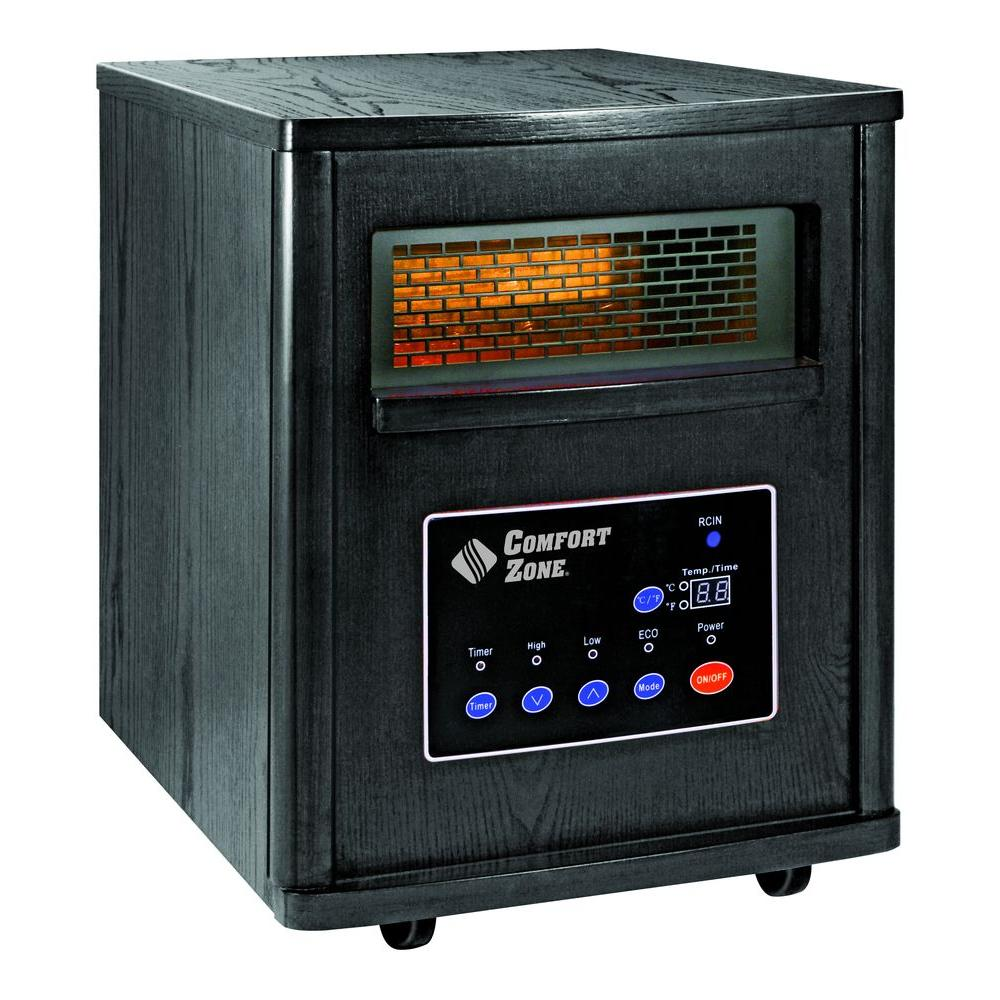 Comfort Zone 750/1500-Watt Infrared Wood Cabinet Quartz Electric Portable Heater with Remote - Black-DISCONTINUED