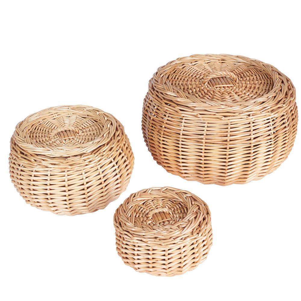 Vanity Round Willow Storage Basket, Set of 3