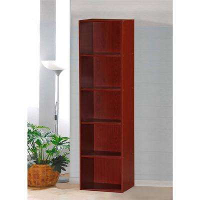 5-Shelf, 59 in. H Mahogany Bookcase