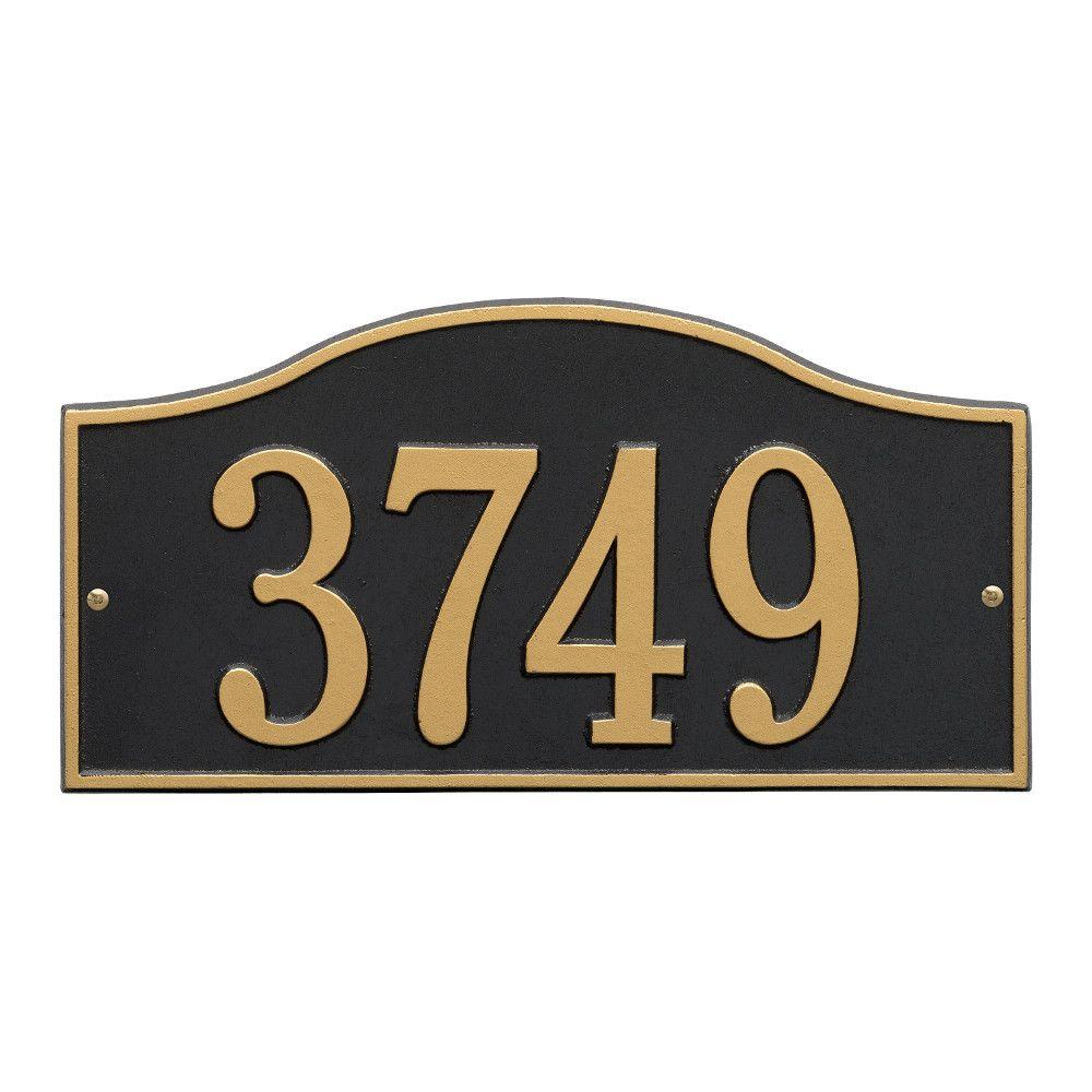 Whitehall Products Rolling Hills Rectangular Black/Gold Standard Wall One Line Address Plaque