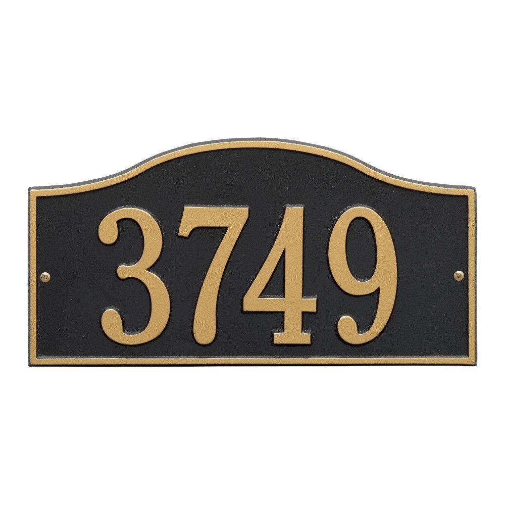 Rolling Hills Rectangular Black/Gold Standard Wall One Line Address Plaque