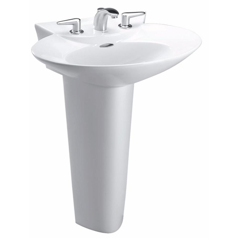 Toto Pacifica 26 In Pedestal Combo Bathroom Sink With Single Faucet Hole In Cotton White