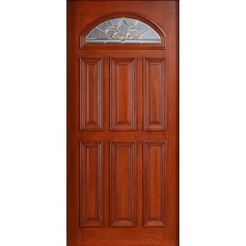 Main Door 36 in. x 80 in. Mahogany Type Prefinished Cherry Beveled Brass Fanlite Glass Solid Stained Wood Front Door Slab