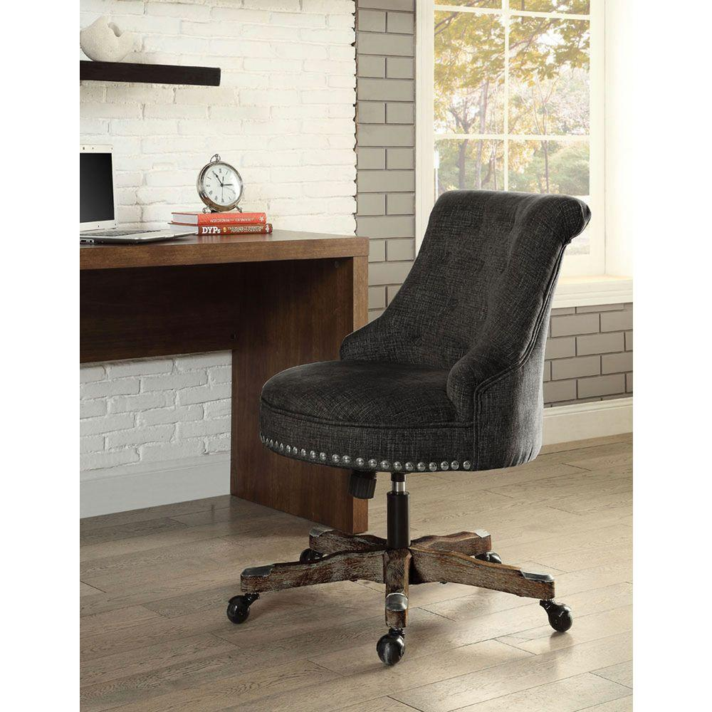 Linon Home Decor Sinclair Gray Polyester Office Chair