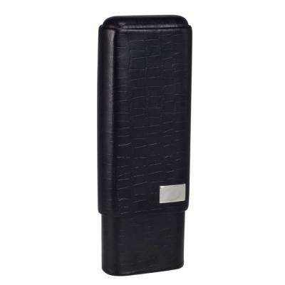 Draco Black Crocodile Finish Holds 3-Cigar Case