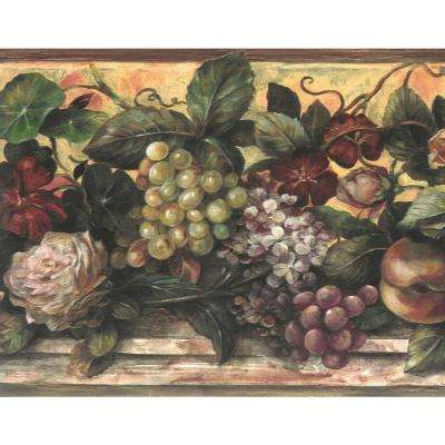 Falkirk Brin Brown, Green, Maroon, Yellow, Purple Flowers, Grapes, Peaches Floral Prepasted Wallpaper Border