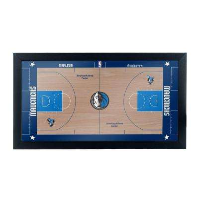 Dallas Mavericks Official NBA Court 15 in. x 26 in. Black Framed Plaque