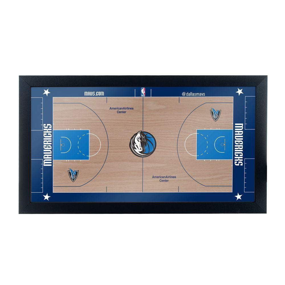 Dallas Mavericks Official NBA Court 15 in. x 26 in. Black Framed Plaque