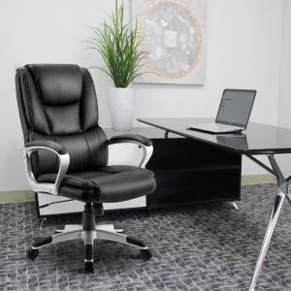 Cool Merax Black High Back Leather Executive Swivel Office Theyellowbook Wood Chair Design Ideas Theyellowbookinfo