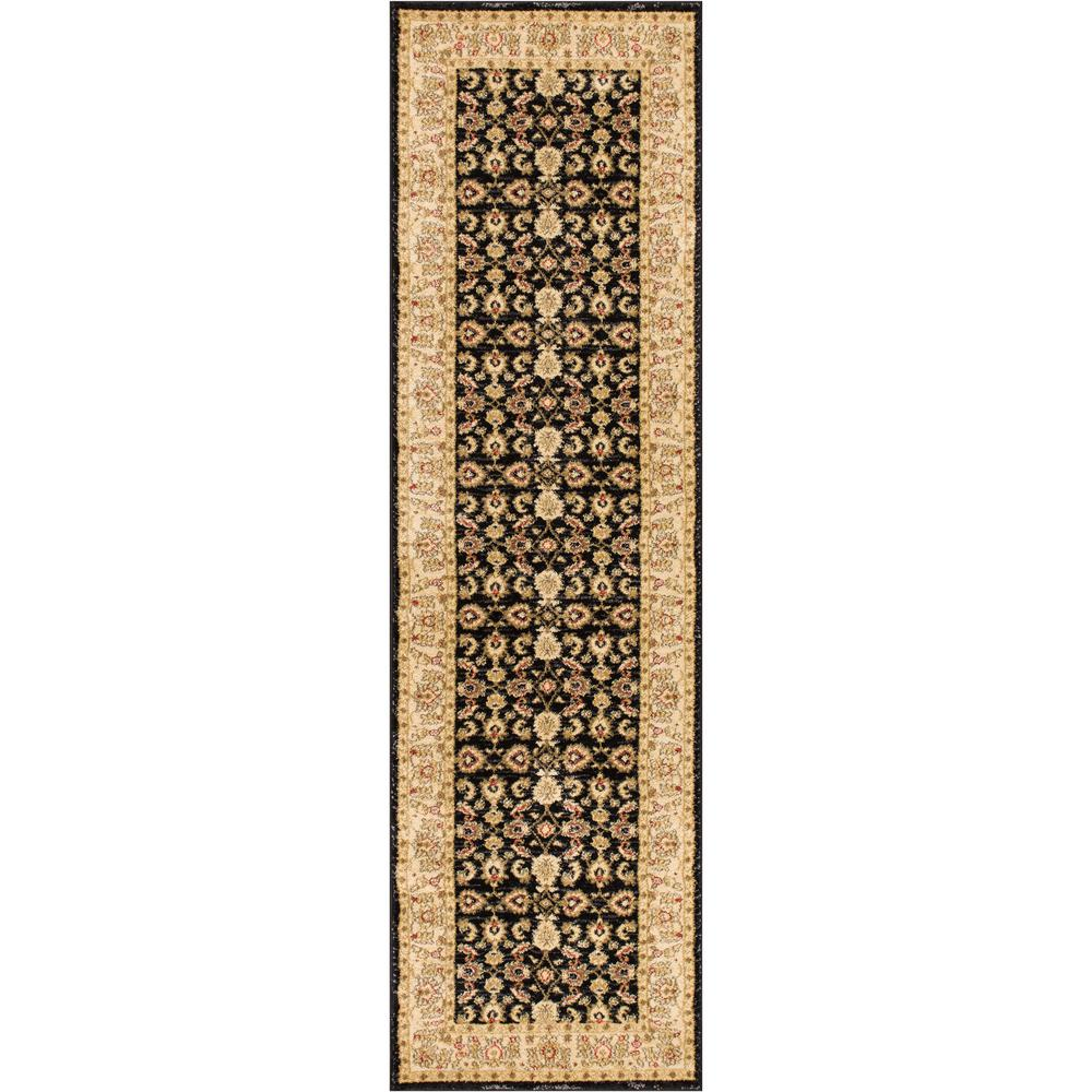 Well Woven Ushak Seljuk Black 2 Ft X 7 Ft Traditional Oriental