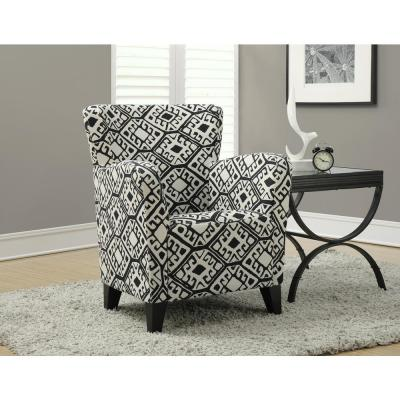 Europa Beige and Black Fabric Club Arm Chair