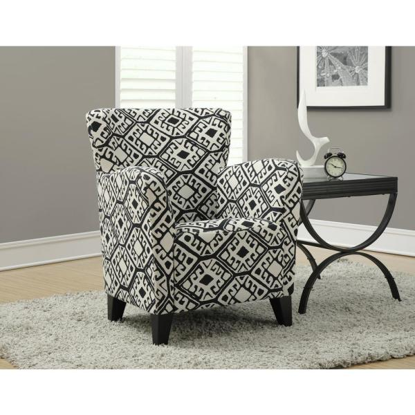 Monarch Specialties Europa Beige and Black Fabric Club Arm Chair