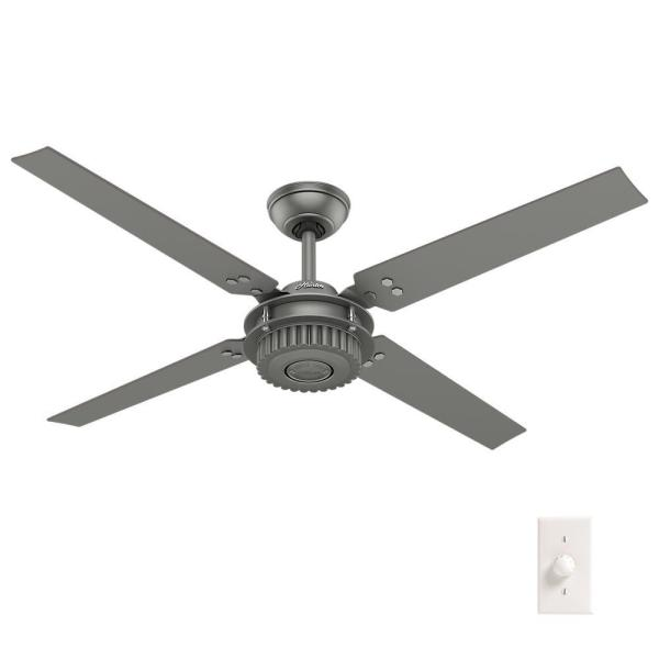 Chronicle 54 in. Indoor/Outdoor Matte Silver Ceiling Fan with wall control