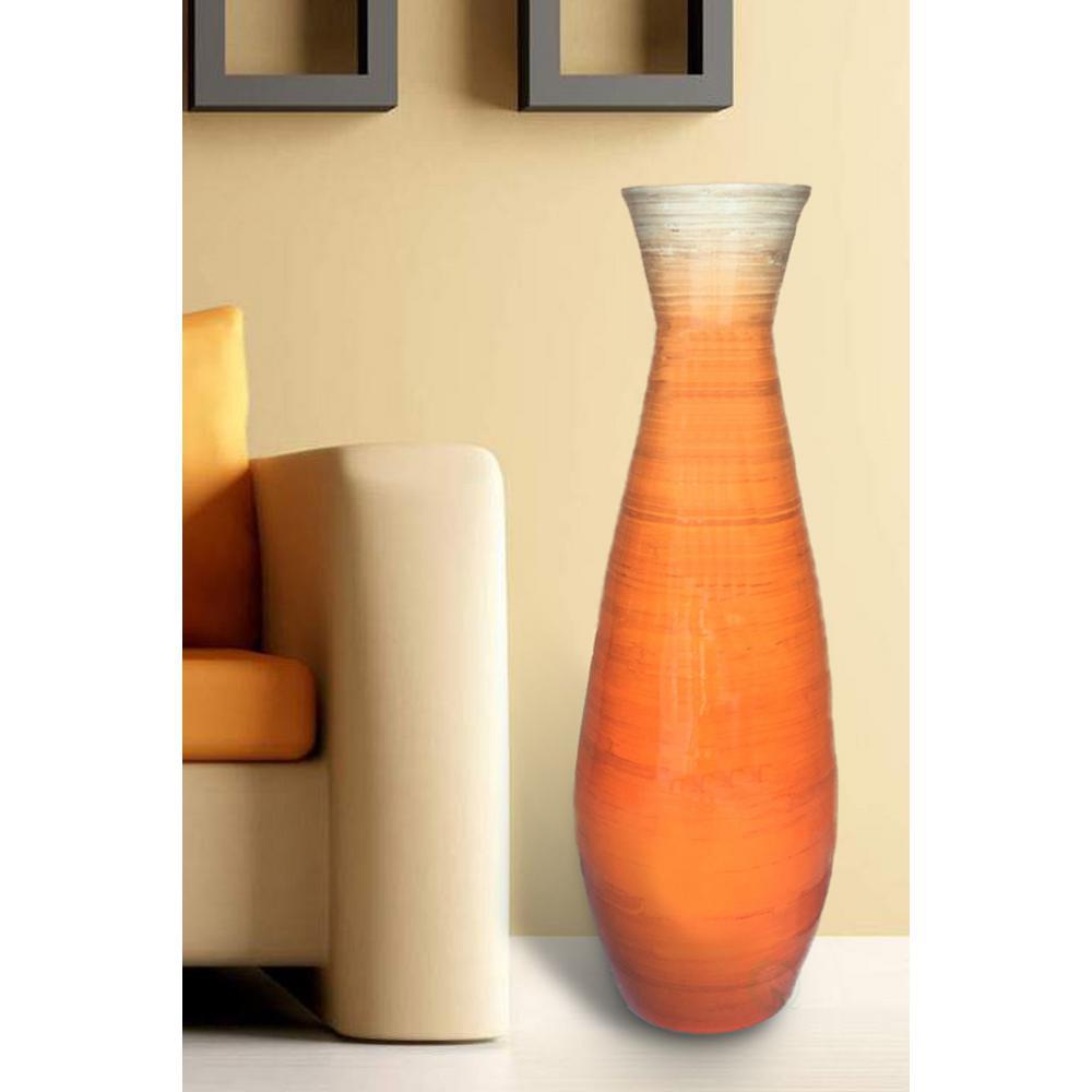 31.5 in. Glossy Orange Tall Bamboo Floor Vase