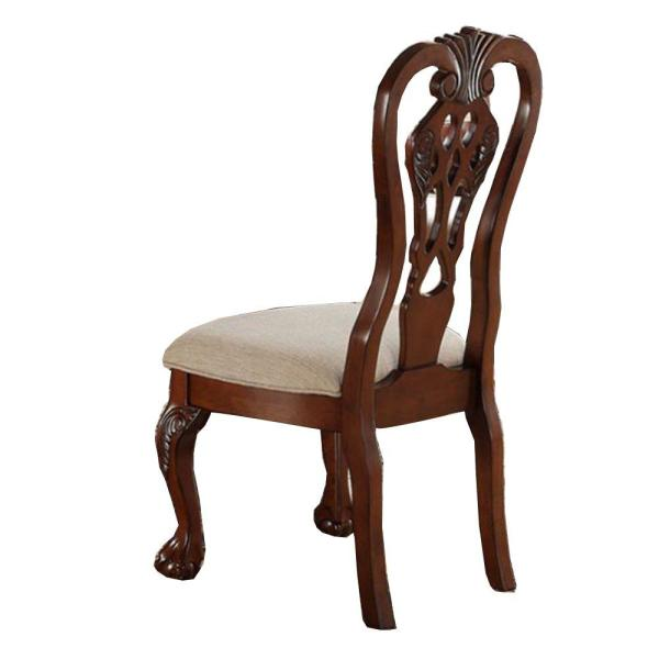 Traditional Brown Rubber Wood Side Chairs (Set of 2)