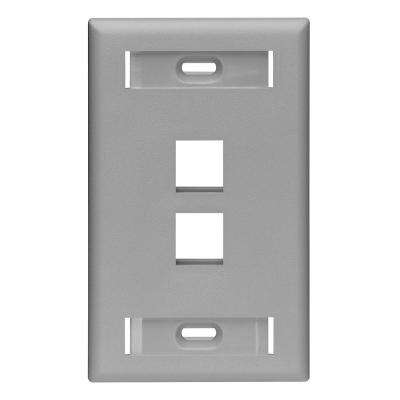 1-Gang Quickport Standard Size 2-Port Wallplate with ID Windows, Gray