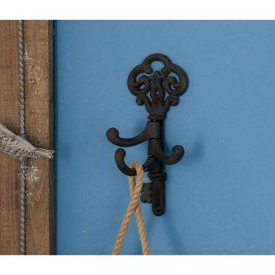 5 in. W x 8 in. H Key-Shaped Metal Wall Hook Rack in Rusted Brown