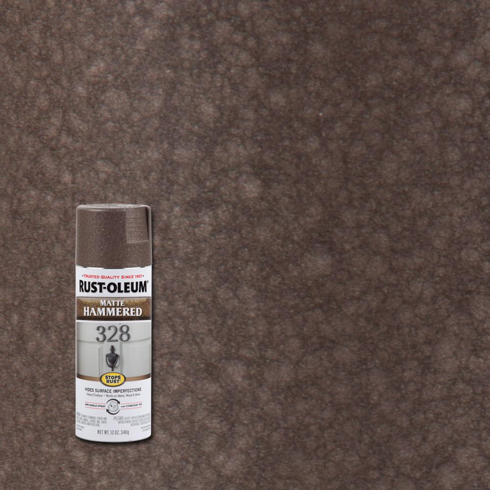 RustOleumStopsRust Rust-Oleum Stops Rust 12 oz. Hammered Matte Brown Protective Spray Paint