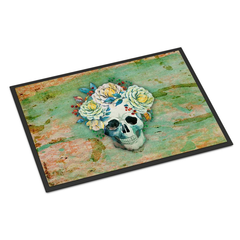 24 in. x 36 in. Indoor/Outdoor Day of The Dead Skull with Flowers Door Mat