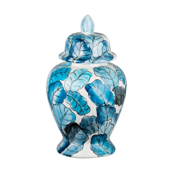 17 in. Blue, White Jar with Lid