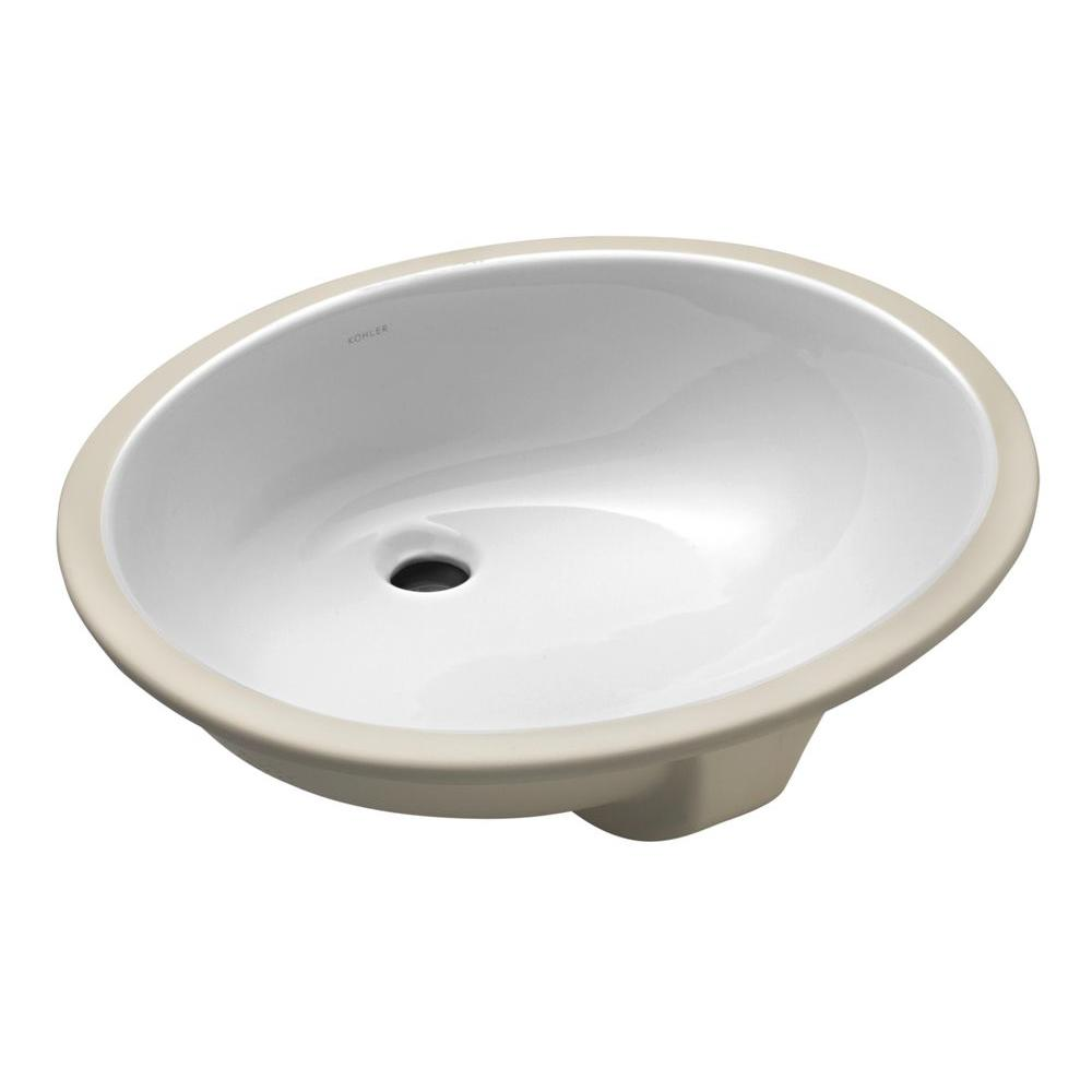 kohler caxton white undermount oval bathroom sink with