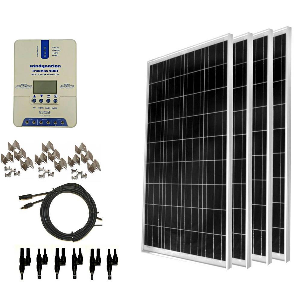 WindyNation 400-Watt Off-Grid Polycrystalline Solar Panel Kit with TrakMax  MPPT 40 Amp Solar Charge Controller