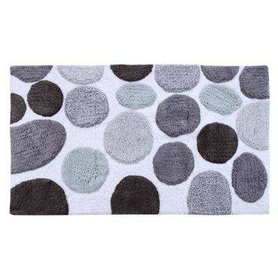 Bath Rug Cotton 50 in. x 30 in. Latex Spray Non-Skid Backing Multiple Gray Pebble Stone Pattern Machine Washable