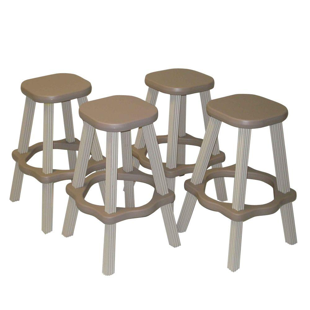 Taupe Resin Patio High Bar Stools Set Of 2