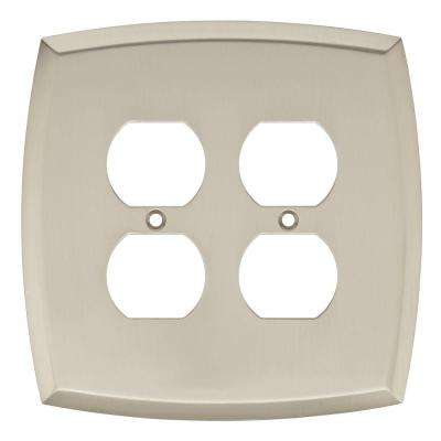 Amherst Decorative Double Duplex Outlet Cover, Satin Nickel