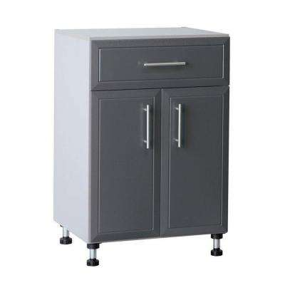 Pro Garage 36.5 in. H x 24 in. W x 20 in. D Gray Laminate 1-Drawer 2 Door Base Cabinet