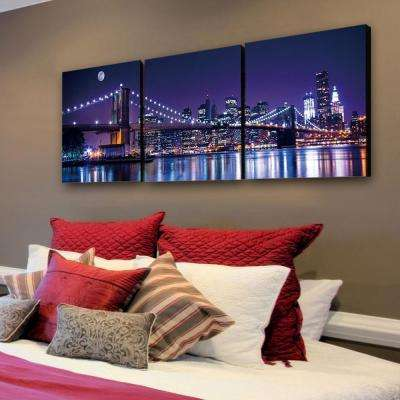 "20 in. x 60 in. ""NYC The City Never Sleeps"" Printed Canvas Wall Art"