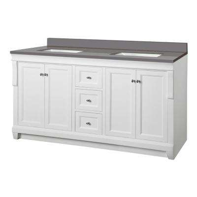 Naples 61 in. W x 22 in. D Vanity Cabinet in White with Engineered Marble Vanity Top in Slate Grey with White Basins