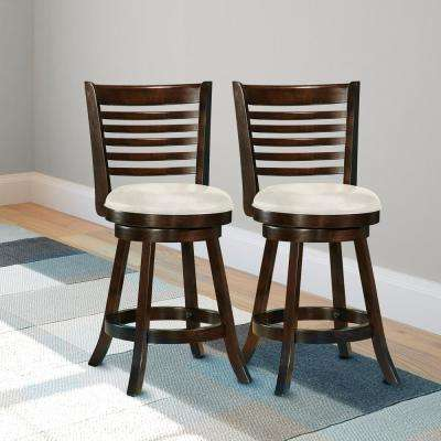 Woodgrove 24 in. Cappuccino Stained Counter Height Barstool with White Leatherette Seat (Set of 2)